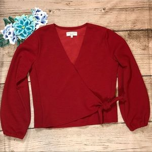 NWOT Madewell J. Crew Brick Red Faux Wrap Blouse